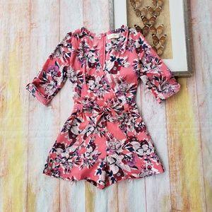 Yumi Kim Liz Pink Floral Pocket Mini Romper XS